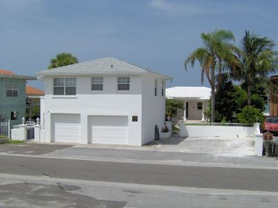 Redington Shores house rental - Garage and house view. Taken from the park across the street.