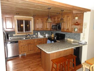 Jay Peak condo photo - Brand New all custome Kitchen w/Granite complete with real Pebble Backsplash
