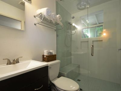 Downstairs bathroom. Large shower with modern glass tiles floor to ceiling.