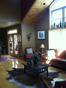 Great room open with 20 foot cathedral ceilings