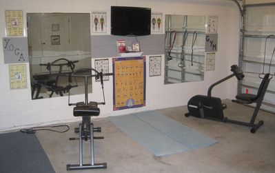 Private gym fitness studio with flat screen tv with instructional DVD's n equip.