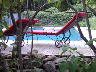 Patterson farmhouse photo - The Old and the New: 200 Year-Old Stone Walls surround the Pool