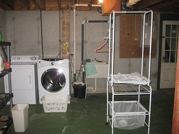 Full basement is well equiped with new washer and dryer.