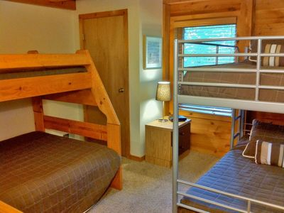 Killington house rental - Left: The downstairs bedroom has twin/full and twin/twin bunk beds. Sleeps 4-5.