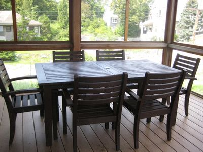 Screened in porch dining area