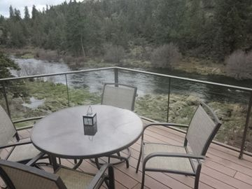Bend house rental - Looking upstream from the main level deck.
