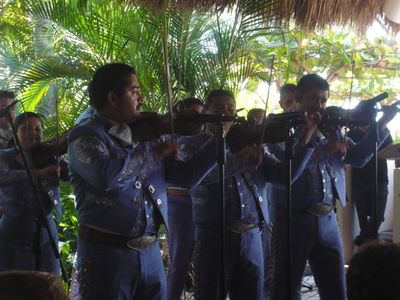 Mariachi playing; this is the best known form of folk music from Mexico.