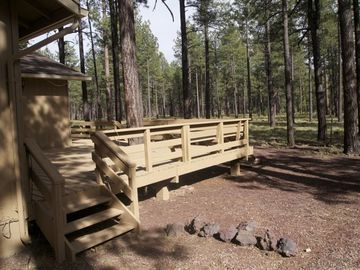 Pinetop house rental - Rear deck side entry with latch gate.