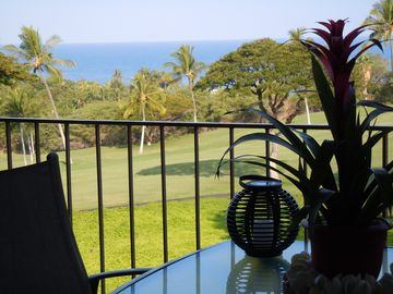 Ocean view over the rail of the lanai