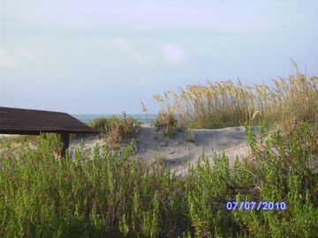 Tybee Island cottage rental - Swing looking over ocean 1 block from house