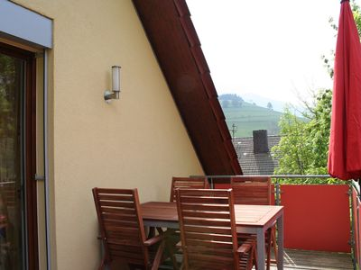 The big sunny balcony with the view to the Belchen