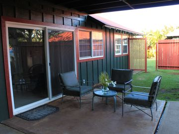 Relax on the covered lanai where cool breezes blow by.