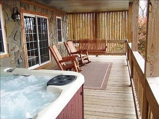 Fancy Gap cabin photo - Louvres On Both Sides Of Covered Deck Give You Complete Privacy In The Hot Tub