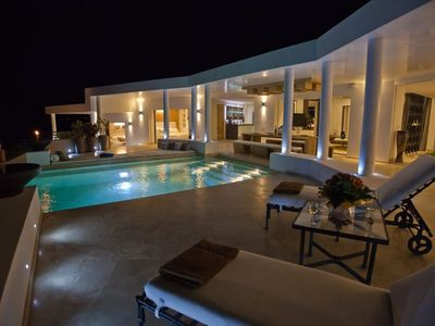 Villa Paraiso terrace by night