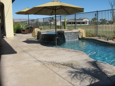 Bakyard w/pool, jacuzzi, firepit, outdoor heater, Gas BBQ, oudoor TV and dining
