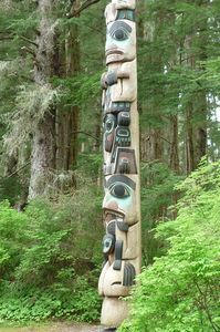 One of many totem poles in town at Sitka National Historical Park in town.