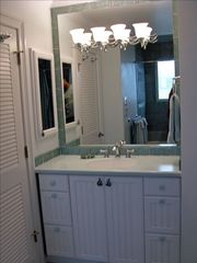 Virginia Beach house photo - Bath next to North Bedroom Suite w/aqua glass wave tile border & bubbl