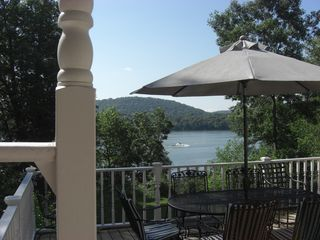 Lake Wisconsin house photo - Beautiful two level deck offers privacy and gorgeous lake views