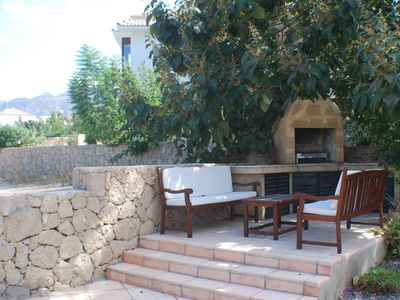 Kyrenia villa rental - Rear Patio with built in BBQ