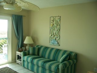 Carolina Beach condo photo - Comfortable Queen sleeper sofa with a view!