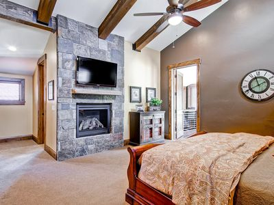 Master Suite with HDTV and access to loft overlooking the Great Room