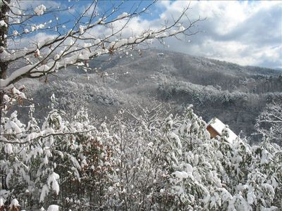 Snowy Smoky Mountains from our deck during the winter.