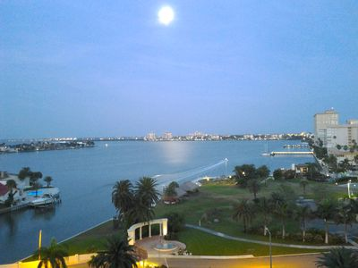 Stunning, full moon over St Pete Bch & Tampa Bay from the magnificent balcony.