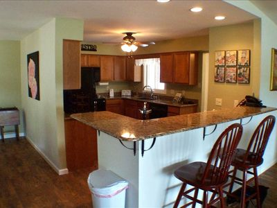 Fully equipped kitchen with new cabinets, granite countertops and appliances
