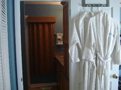 Your robe awaits you! Main house bathroom/bedroom