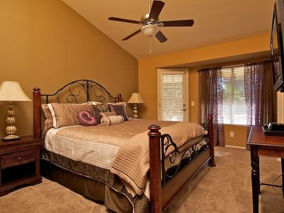 Gorgeous king size bed in master bedroom