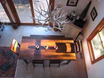 Authentic Antler Chandelier from Jackson Hole Wyoming - 8 Ft Mango Wood Table