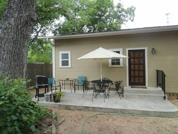Private back patio and off street parking