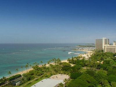 Waikiki condo rental - Ocean View - Ocean View towards the west. Fireworks on Friday nights and beautiful sunset views.