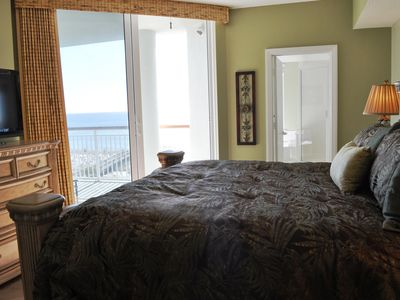 VIEW OF THE GULF AND ENTRANCE TO THE BALCONY FROM THE MASTER BEDROOM