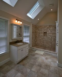 Master Bathroom with Stone Tile Shower