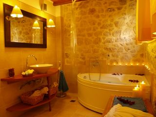 Platanias villa photo - Luxury full bathroom with jetted bathtub