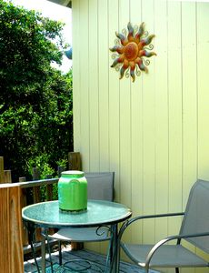 Enjoy morning coffee on the back deck.