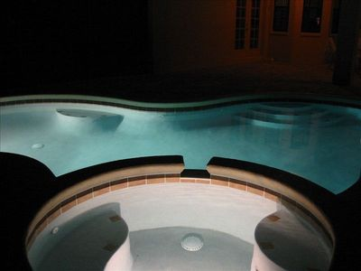Pool and spa by night