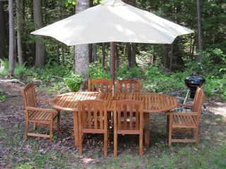 Wilmington house photo - New Teak outdoor dining set, stream side dining.