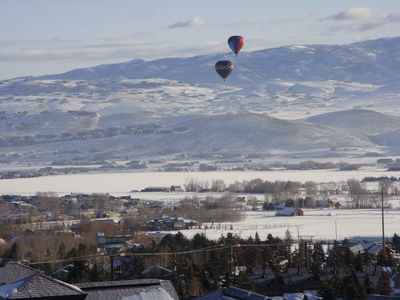 Picture from balcony of 3800 of Wasatch Valley w/balloons