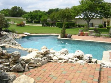 Natural stone pool and hot tub