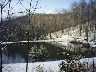 Woolwine cabin photo - view of the pond in winter splendor.
