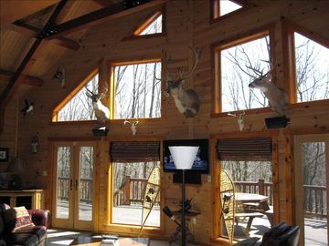 Seven Springs cabin rental - Fabulous two story great room off of the kitchen with wood burning fireplace