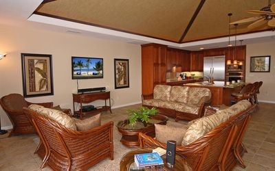 Great Room 47' TV Area with Adjacent Gourmet Kitchen