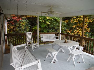 Bryson City cottage rental - Spacious porch, perfect for coffee in the morning and sunsets in the evening.