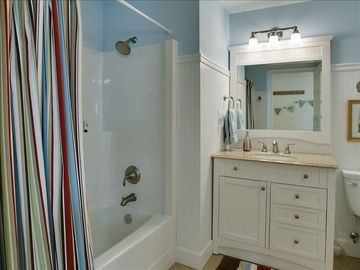 The full main bathroom, with washer dryer.