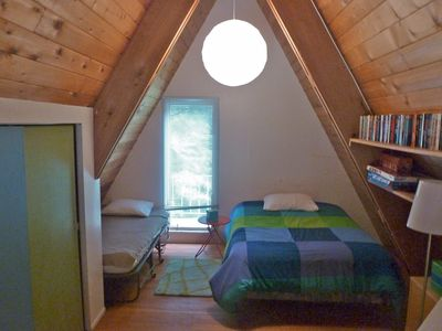 Loft bedroom with Double & Twin beds.