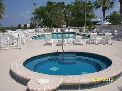 Sand Key condo rental - Our favorite pool/spa! A 30 second walk from the unit! Grilling area here too!