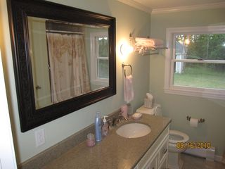 Wellfleet house photo - Newly tiled shower and floor including new 6 ft quartz vanity and large mirror