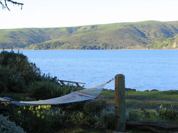 Point Reyes Station house rental - Barracca on the Bay waterfront views, lounge in the hammock to reboot your soul.